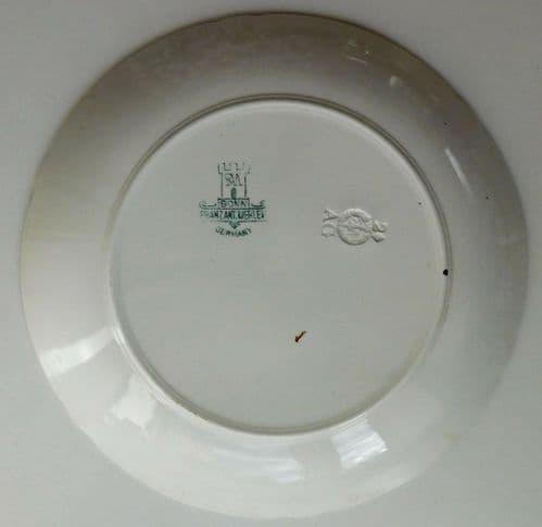 Antique German game bird plate Grouse Franz Anton Mehlem Royal Bonn ptarmigan